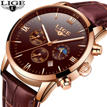 2019 LIGE Mens Watches Top Brand Luxury Fashion Watch Men Leather Quartz Clock For Male Waterproof Rose Gold Relogio Masculino