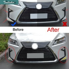 цена на 4 PCS Car Styling DIY ABS Chrome Front Fog Eyebrow Light Car Cover Case Stickers for Lexus RX200t 350 450h 2016 Part Accessories