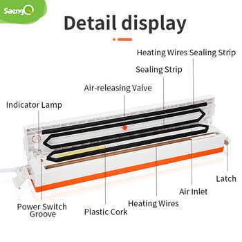 saengQ 220V Best Food Vacuum Sealer Machine Vacuum Sealing Machine Film Container Food Sealer Saver Include 15Pcs Vacuum Packer