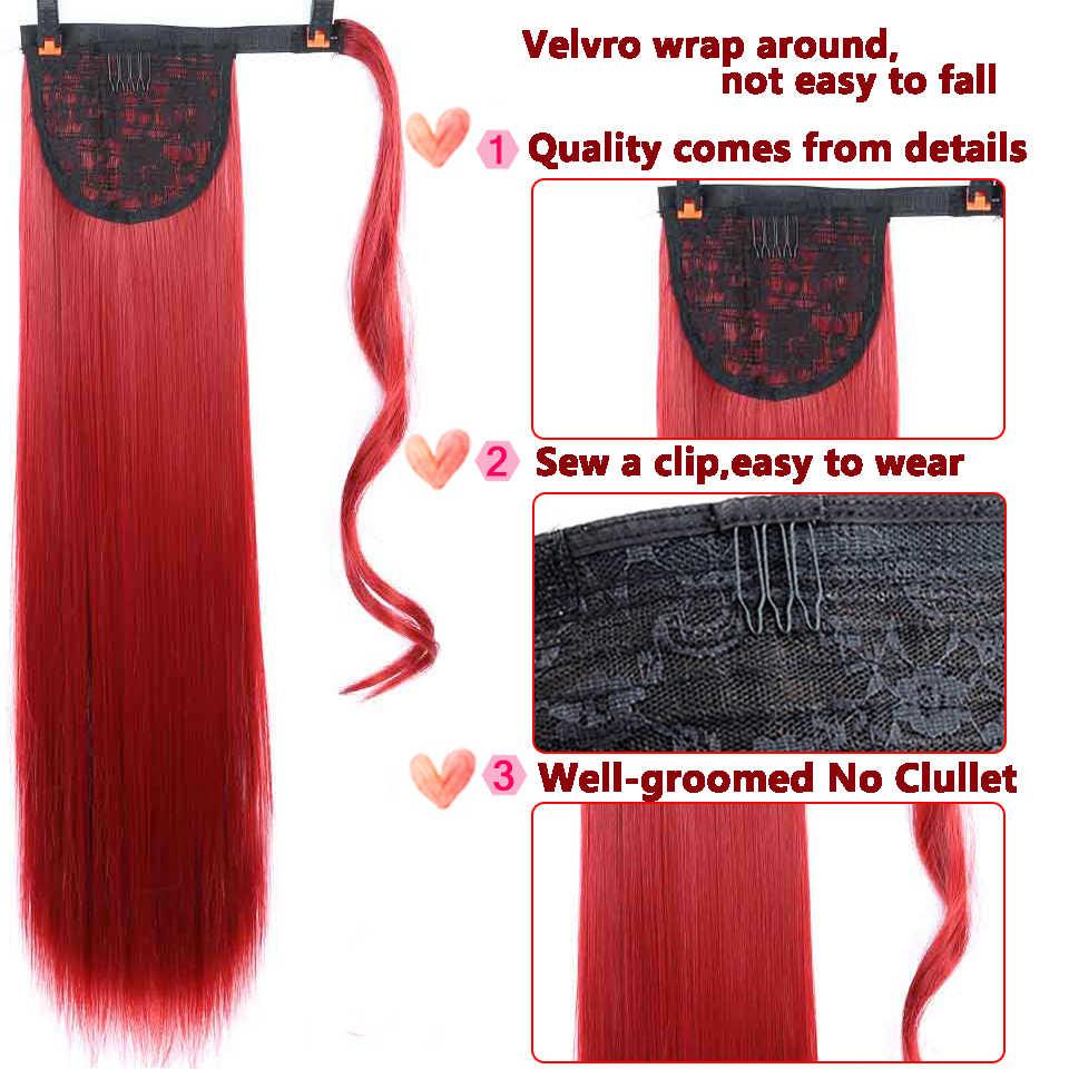 """Wtb 22 """"longo ondulado wrap em torno do grampo na extensão do cabelo rabo de cavalo resistente ao calor sintético natural onda pônei cauda falso cabelo"""