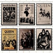 Queen Band музыкальный плакат на крафт-бумаге Фредди Меркьюри, Brian мая винтажная Высококачественная декоративная роспись стены стикер