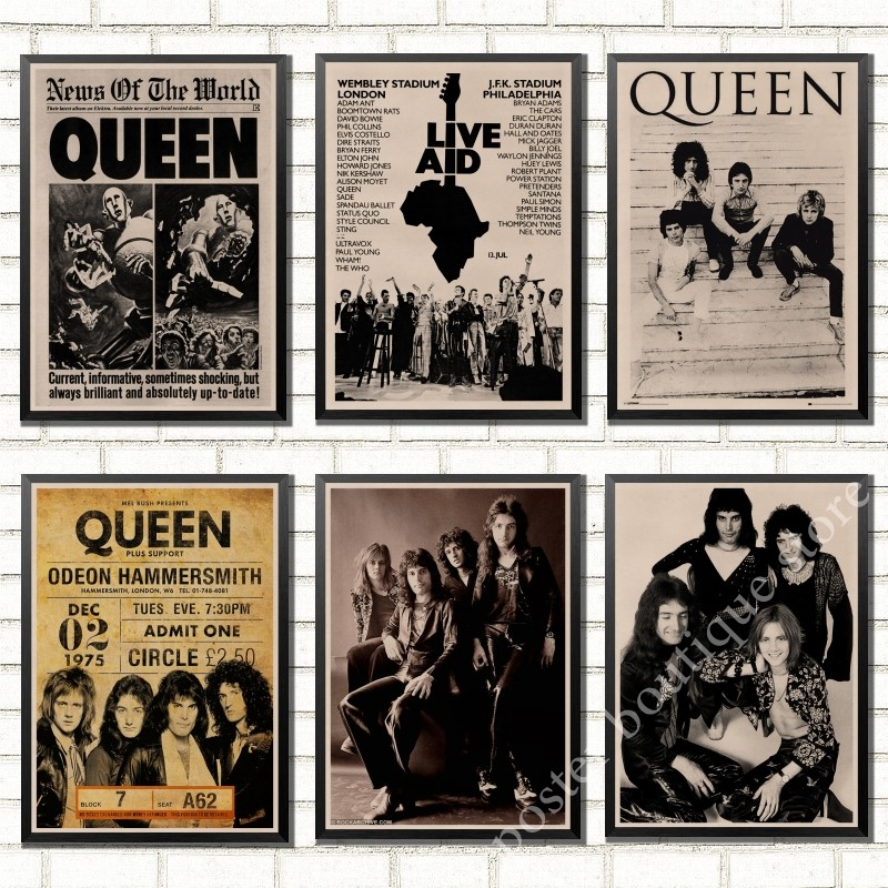 Queen Band Music Kraft Paper Poster Freddie Mercury,Brian May Vintage High Quality Drawing core Decorative Painting Wall Sticker image