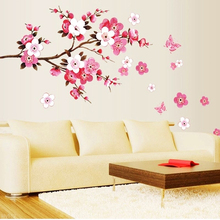 Flowers Removable Wall Stickers Pink Peach Plum Cherry Blossom Flower Butterfly Vinyl Art Decal Home Sticker Room Decor