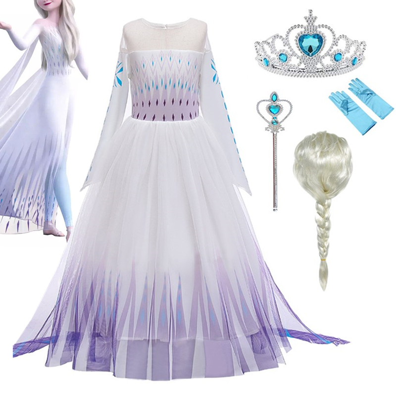 Hot Sale White Elsa Dress Elsa 2 Role Playing Costumes Fancy Toddler Fantasy New Princess Dress Elsa Anna Game Cosplay Clothes