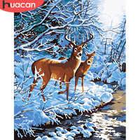 HUACAN Ölgemälde Durch Zahlen Deer Tiere Zeichnung Leinwand DIY Bilder Durch Zahlen Winter Wand Kunst Hand Gemalt Geschenk Hause decor