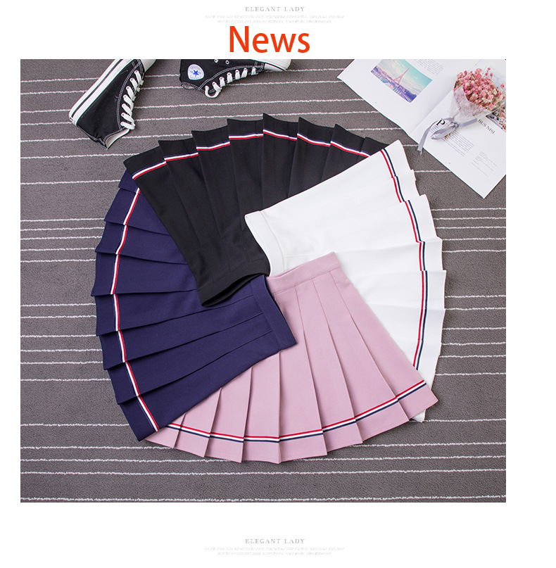 XS-XXL High Waist A-Line Women Skirt Striped Stitching Sailor Pleated Skirt Elastic Waist Sweet Girls Dance Skirt Plaid Skirt 31