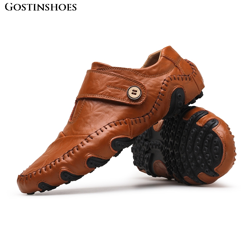 Genuine Leather Men Casual Shoes Luxury Mens Loafers Fashion Moccasins Homme Driver Shoes Slip on Moccasins|Men's Casual Shoes| |  - title=