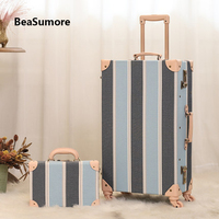 BeaSumore Retro PU Leather Rolling Luggage Sets Spinner Cute Women Suitcase Wheel Vintage Cabin Trolley Women's Handbag