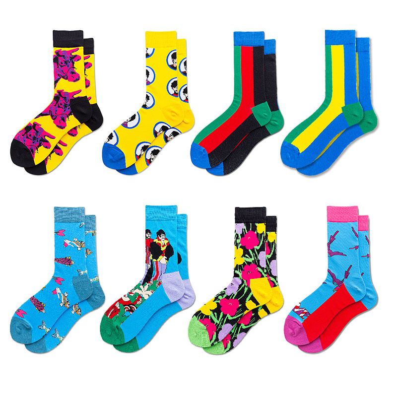 New Individual Creative Trendy Colored Cotton Socks Men Art British Contrast Men's Cotton Socks Hyperbole Designer Happy Socks