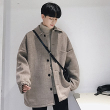 2019 Men's Fashion Wool Blends Loose Trench Camel/grey Color