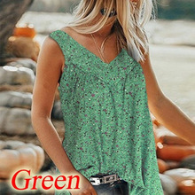 Casual Summer Plus Size Tee Shirts Women Sexy Sleeveless Loose Tops V-Neck Lady Beach T Shirts