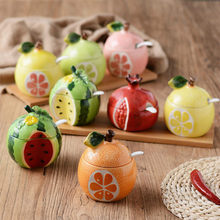 3D With Lid Creative Ceramic Pot Fruit Pattern Sugar Cans Spoon Olive Oil Tank Kitchen Seasoning Tools Solid Wood Tray Tea Can(China)