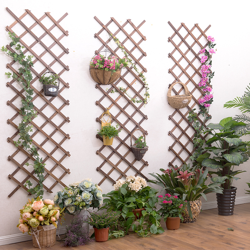 Plant Vine Rack Hanging Wood Flower Stand Balcony Wall-mounted Flower Bracket Anti-corrosion Wood Fence Decoration