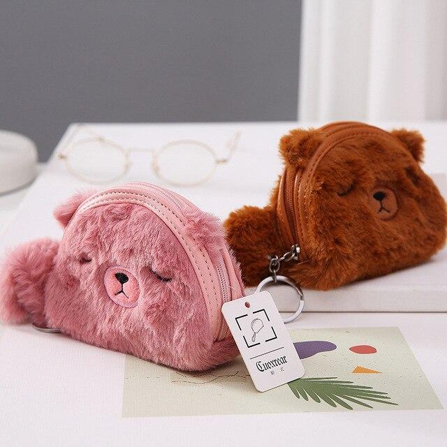 Jungle Book cartoon bear handmade zipper fabric coin change purse card holder