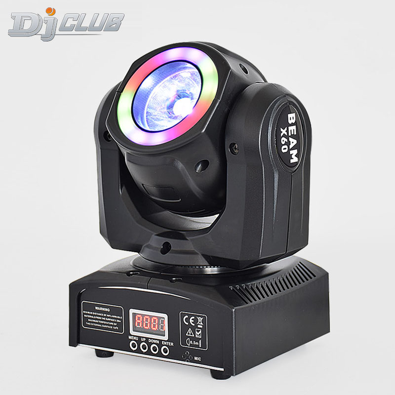 Super Compact Pocket LED Moving Head Beam Light 60W With RGBW Color Mixing And LED Pixel Ring
