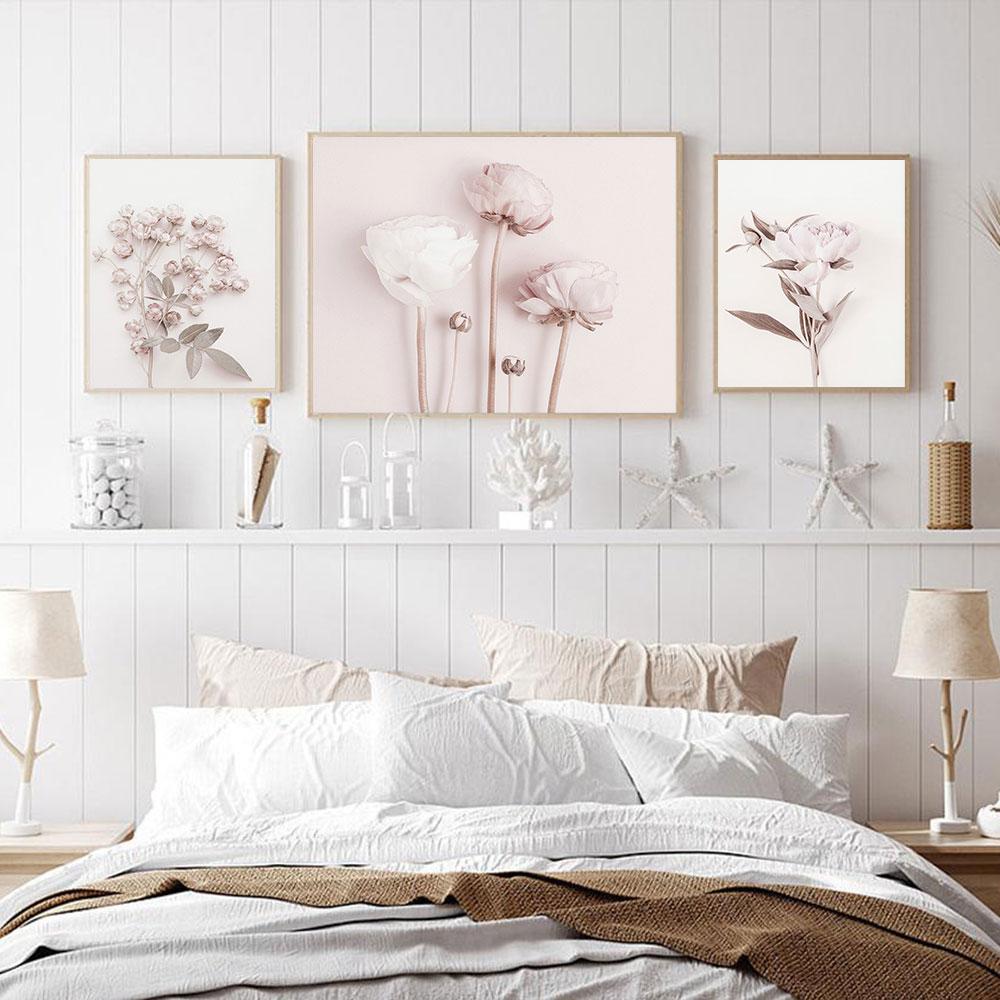 Цветочный постер с принтом пионов, розы, настенная художественная живопись, холст, Настенная картина, скандинавские настенные художественн...