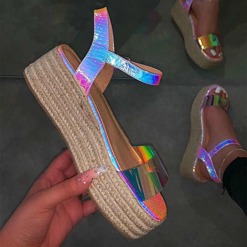ผู้หญิงใหม่แบนแพลตฟอร์มรองเท้าแตะสายคล้องรองเท้า Bling สุภาพสตรีกลางแจ้ง Casual Hemp Sandalias ฤดูร้อนรองเท้าแฟชั่น PLUS ขนาด