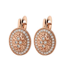 New Trend Micro Wax Inlay Hollow Drop Earrings Women Luxury Wedding Fashion Jewelry 585 Rose Gold Zircon Flower Earrings cute