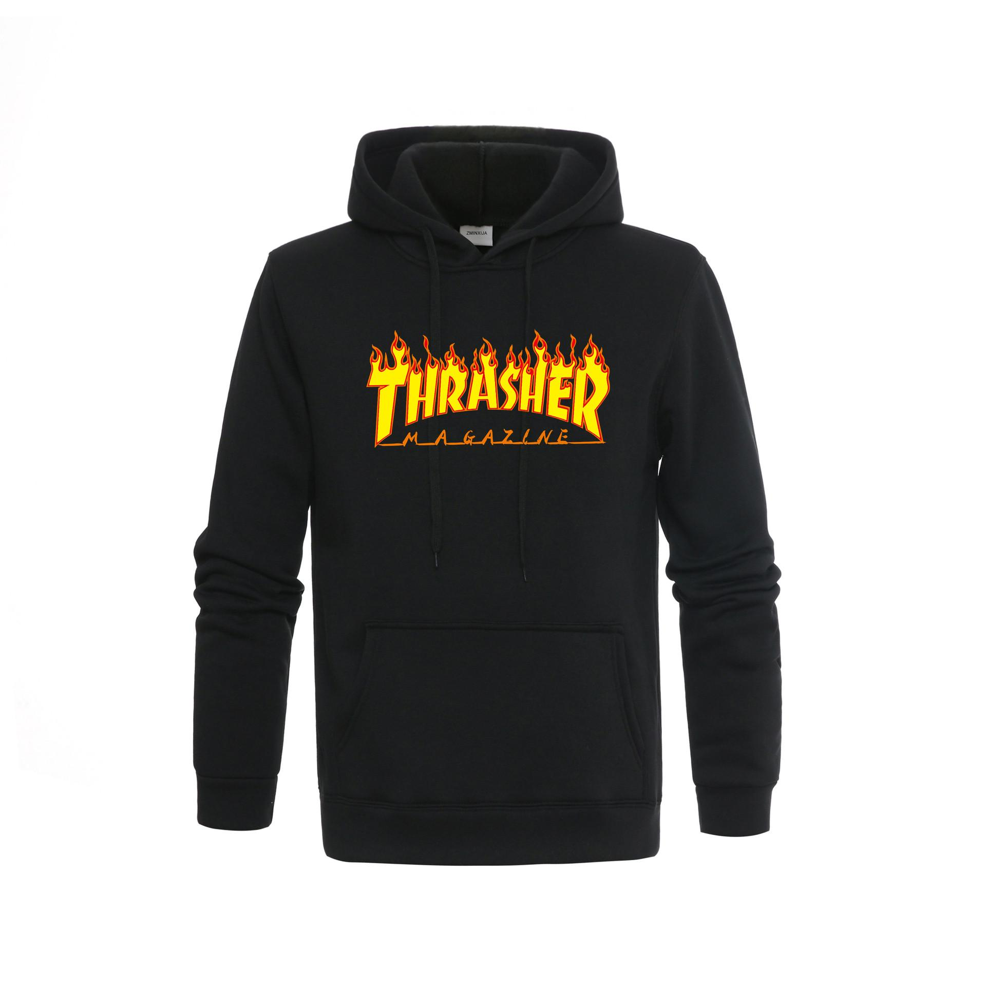 Fall And Winter 2019 New Leisure Pullover Men's Hoodie Pure Printed THRASHER Brand Flame Men's Guard S