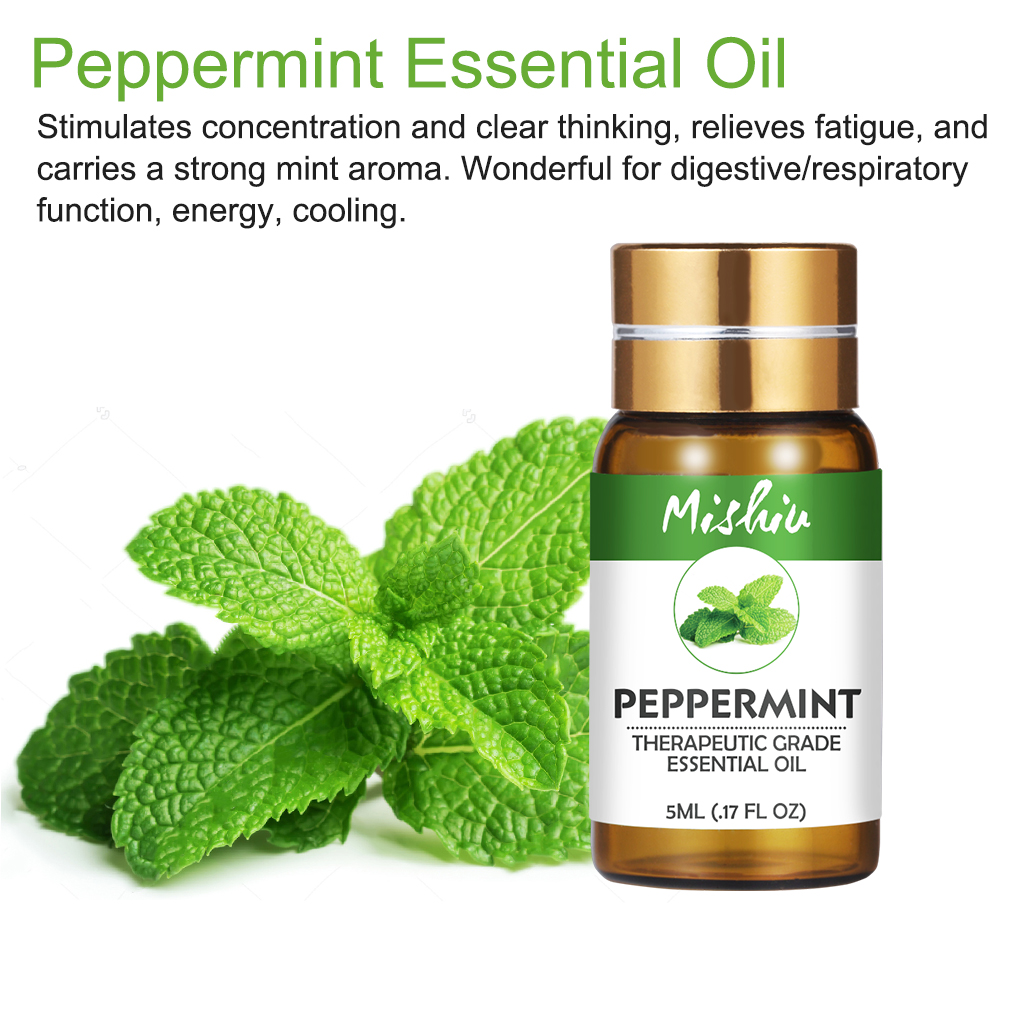 Mishiu 5ML Peppermint Essential Oil Clear Thinking,Relieves Fatigue,For Aromatherapy Organic Relieve Body Stress Skin Care