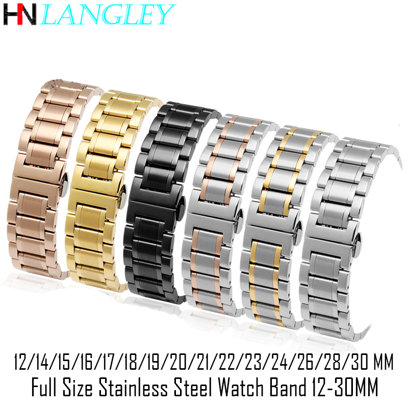 12-30 Mm Big Size Stainless Steel Watch Band 14/15/16/17/18/19/20/21/22/23/24/26/28 Mm Width Watches Strap Bracelet Replacement