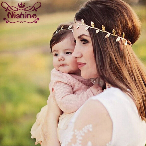 Nishine 1set New Mom And Me Gold Silver Leaf Headband Set For Hair Accessories Peace Olive Branch Cute Leaves Hairband