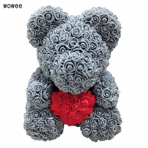 Image 2 - Valentines Day 40cm Rose Bear Artificial Flower Roses Girlfriend Gift Ornaments Teddy Bear of Rose Decorations Foam Flower Head