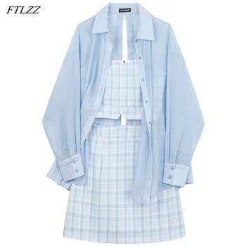 FTLZZ Summer Women New Three Piece Set Lady Sling Tops+short Skirt+Shirt Sunscreen Coat Fashion Set Street Fashion Suit 1