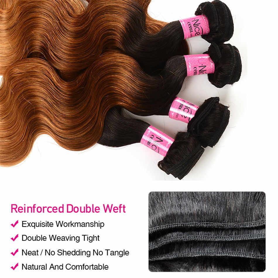 Europejską unię konfederacji przemysłowych i pracodawców (Unice) do włosów wiązki włosów naturalnych doczepy typu body wave T1B/4/27 brazylijski włosy wyplata wiązki 3 ton blond ludzki włos 1 Bundle włosów
