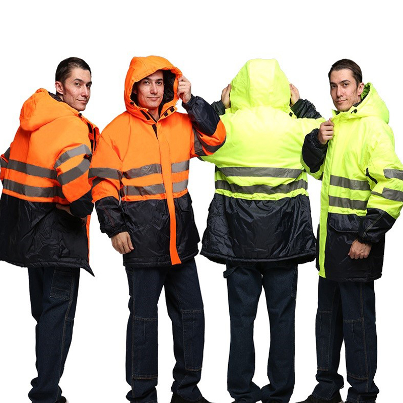 Winter work clothes cotton padded overcoat men thicken labor quilted jacket coat cold-resistant outdoor hi vis reflective tops