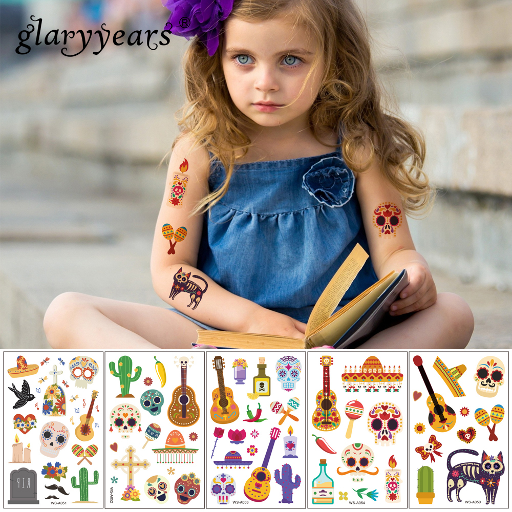 Glaryyears 1 Sheet Death Day Series Kids Temporary Tattoo Sticker Hot Fake Flash Waterproof  Fashion Small Body Art Child WS-A