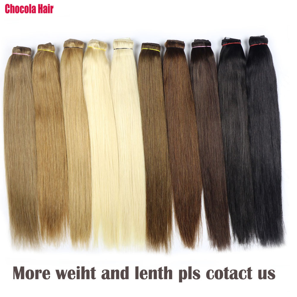 Chocala Hair 16inch-28inch Machine Made Remy Hair 1pcs Set 100g-200g Brazilian Natural Straight Clip In Human Hair Extensions