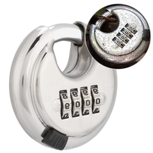 4-Dial Combination Lock Password Round Padlock Key Stainless Steel Password Locks For Outdoor Warehouse Fences