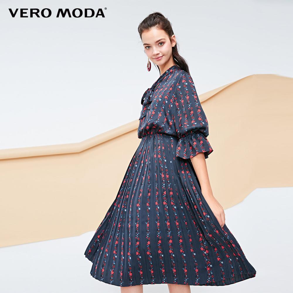 Vero moda feminino impressão nacional com decote em v laço plissado boho vestido | 31836z516