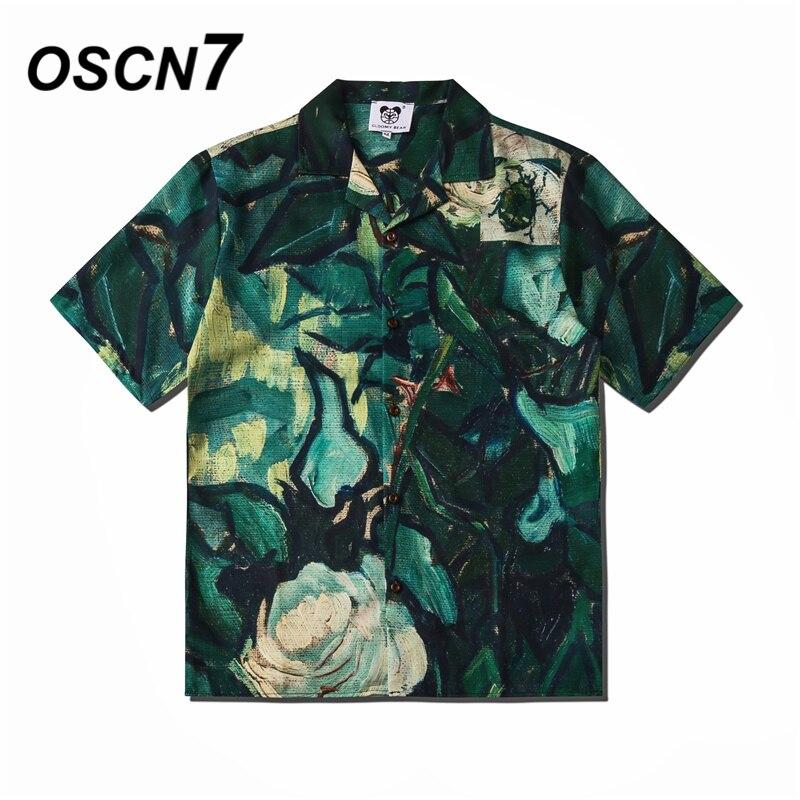 OSCN7 Casual Street Printed Short Sleeve Shirt Men 2020 Hawaii Beach Oversize Women Fashion Harujuku Shirts For Men CSD06