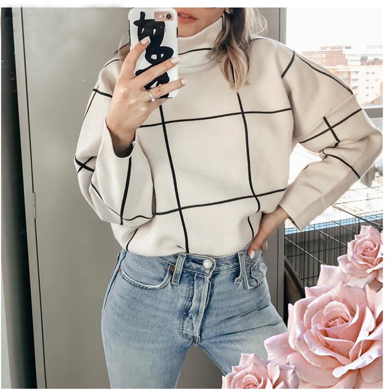 Plaid Turtleneck Women Pullover Sweaters Casual Office Ladies Outerwear Black White Knitted Sweater Autumn Winter Female Jumpers