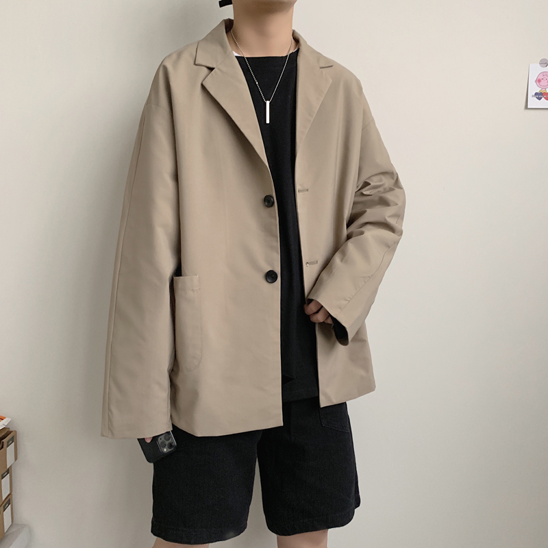 2020 Spring And Autumn New Korean Retro Small Suit Fashion Casual Solid Color Loose Large Size Coat Jacket Black / Khaki M-5XL
