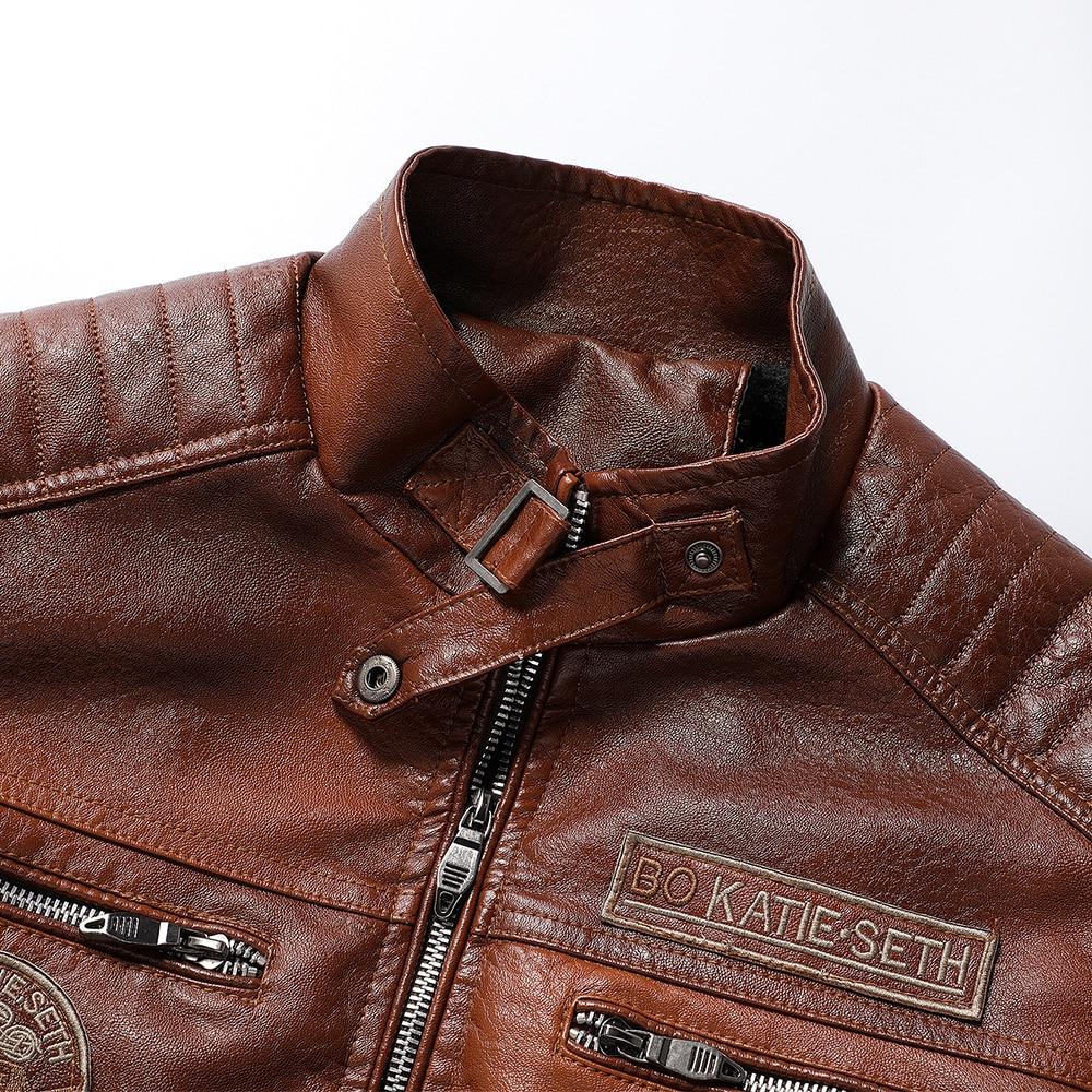 Ucrazy Men 2020 Autumn New Brand Casual Motor Distressed Leather Jacket Coat Men Winter Vintage Outwear Faux Leather Jackets Men 5