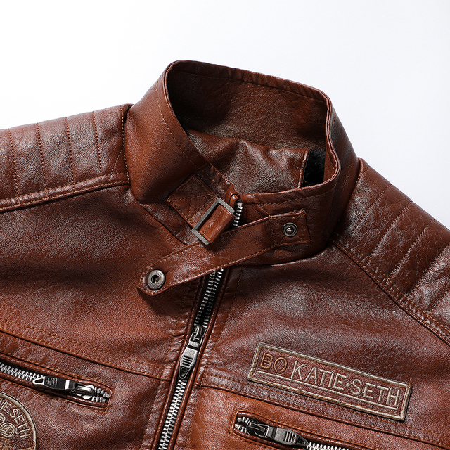 Ucrazy Men 2021 Autumn New Brand Casual Motor Distressed Leather Jacket Coat Men Winter Vintage Outwear Faux Leather Jackets Men 5