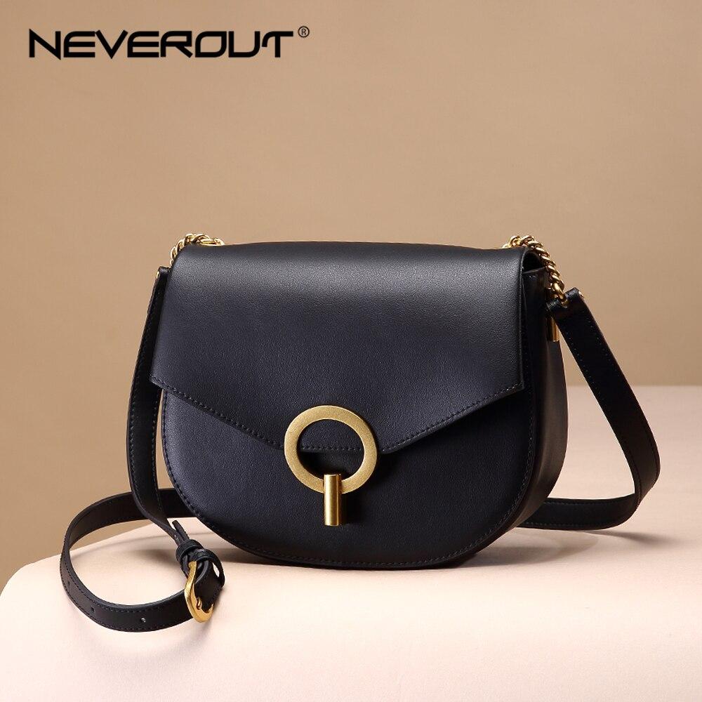 NEVEROUT Crossbody Bags for Women Shoulder Bag Soft Leather Messenger Bag Casual Metal Round Lock Handbag Party Saddle Bags