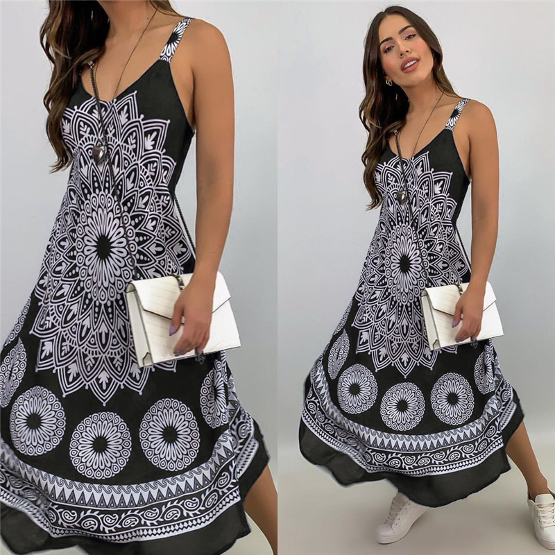 Fashion Women Sleeveless Casual Maxi Dress Printed, Long Dresses Laides V-neck Loose Sundress Party Dresses Mujer Vestido 11