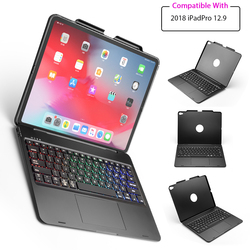 For iPad Pro 12.9 Inch 2018 Bluetooth Keyboard with 7 Colors Backlit Wireless Keyboard with Touchpad Tablet Protective Case