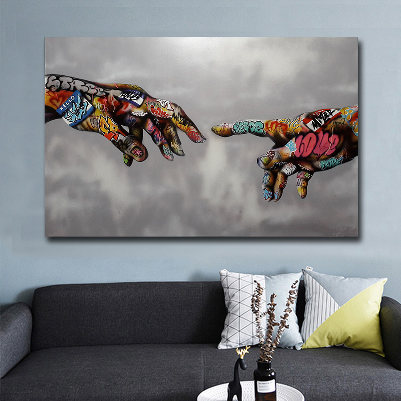 Graffiti Art Canvas Painting Street Art Hand Posters and Prints on Canvas Wall Art Picture for Living Room Home Design Decor(China)