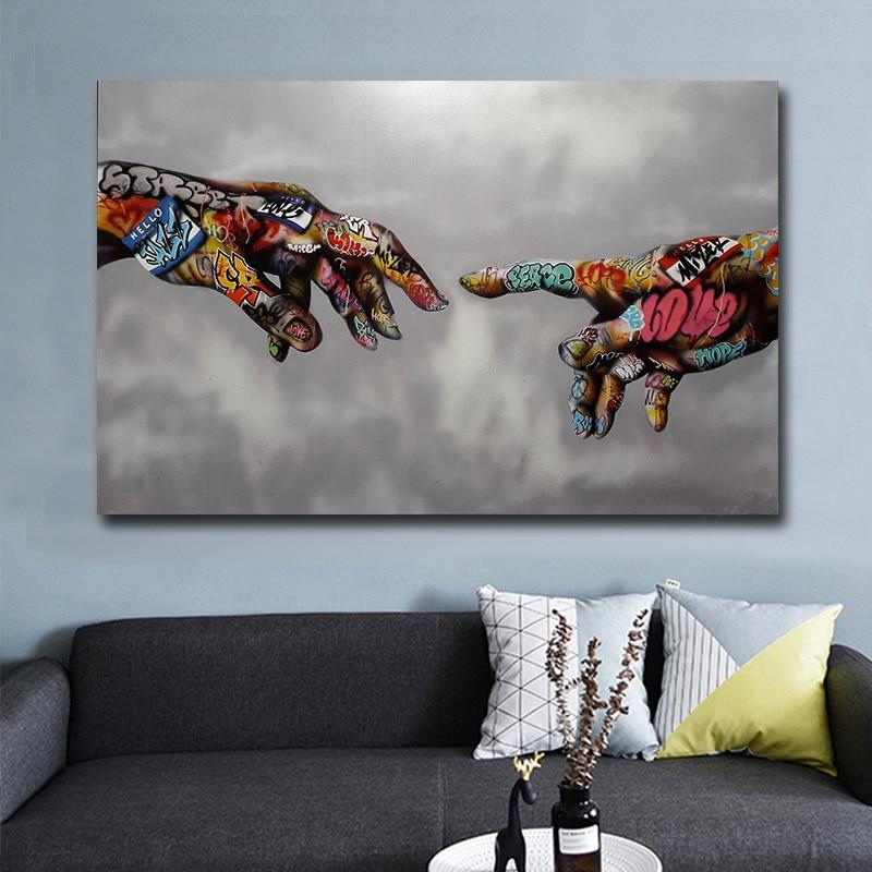 Graffiti arte pintura em tela arte de rua mão posters e impressões na lona imagem da parede para sala estar design casa decoração