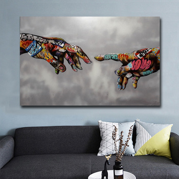 Graffiti Art Canvas Painting Street Art Hand Posters and  Prints on Canvas Wall Art Picture for Living Room Home Design Decor 2pic set paris city landmarks and cars modern painting hd prints on canvas wall art for living room canvas printings home decor