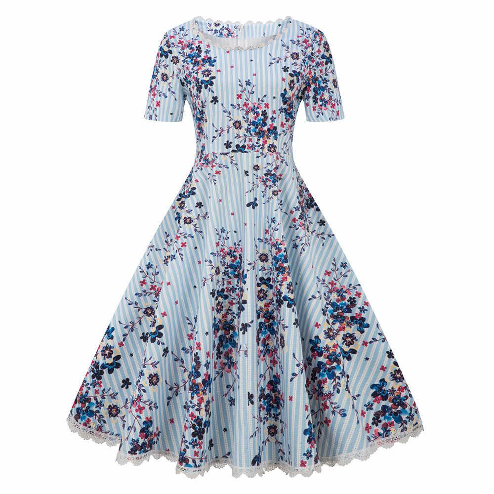 """Plus rozmiar kwiatowy sukienka z nadrukiem kobieta duży duży rozmiar młodzieńczy Party Vestidos koszulka z dekoltem w kształcie litery """"o"""" z krótkim rękawem Retro koronki łączone sukienki midi"""