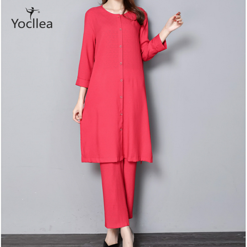 New 5XL 2pcs Women Two Piece Set Vintage Solid Color Casual O-neck Three Quarter Long Tops+Ankle-Length Pants Suit NY456