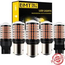 BMTxms 2 adet P21W araba LED ışık Canbus PY21W BA15S BA15D BAY15D T20 7440 7443 3157 BAZ15D otomatik durdurma fren sinyal ışığı