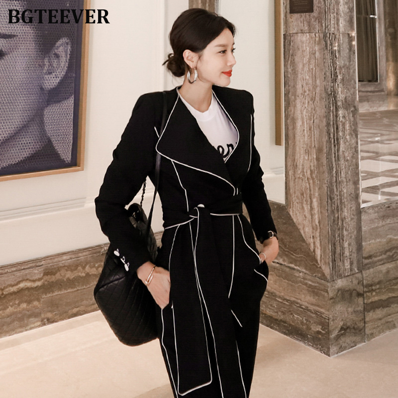 Fashion Contrast Color Lace Up Women Pant Suit Elegant Women Blazer Suits Slim Jacket & Pencil Pant Black Female Work Suits 2019