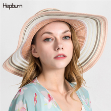 Hepburn brand 2019 Women Summer Beach Raffia Black Hat Temperament Flat Straw Hats Womens Sea